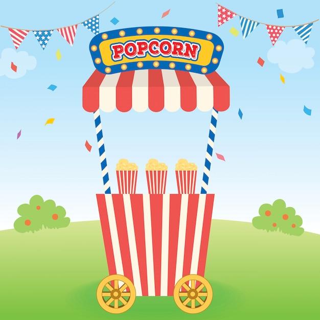 Popcorn cart 2 Vecteur Premium