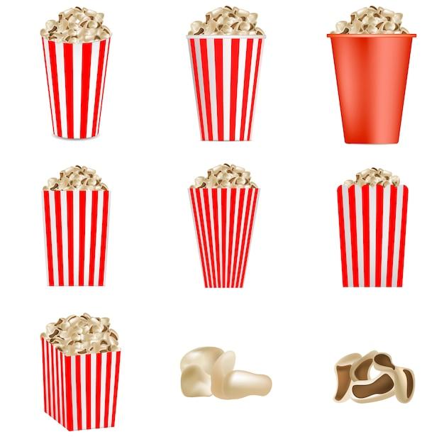 Popcorn cinema box set de maquette rayé. illustration réaliste de 9 maquettes vectorielles de boîte de cinéma de pop-corn pour le web Vecteur Premium
