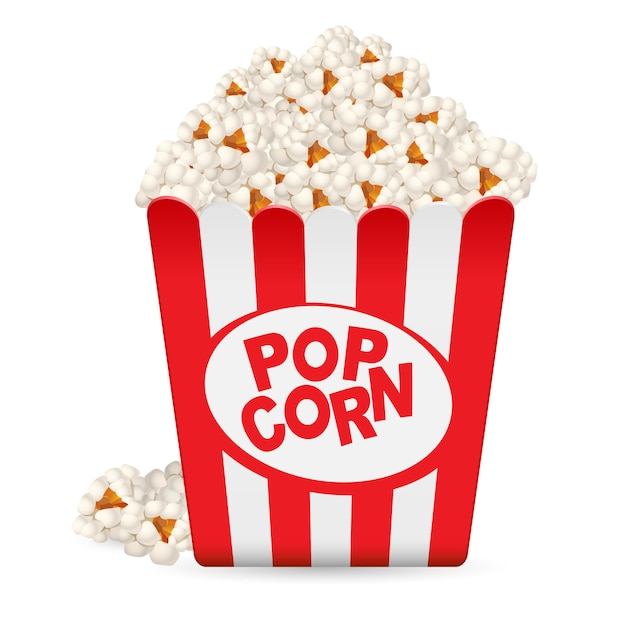 Popcorn Dans Une Baignoire Rayée Vecteur Premium