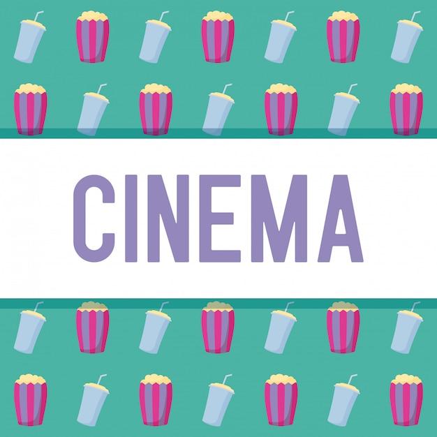 Popcorn Avec Motif De Bouteille De Boisson Vecteur Premium