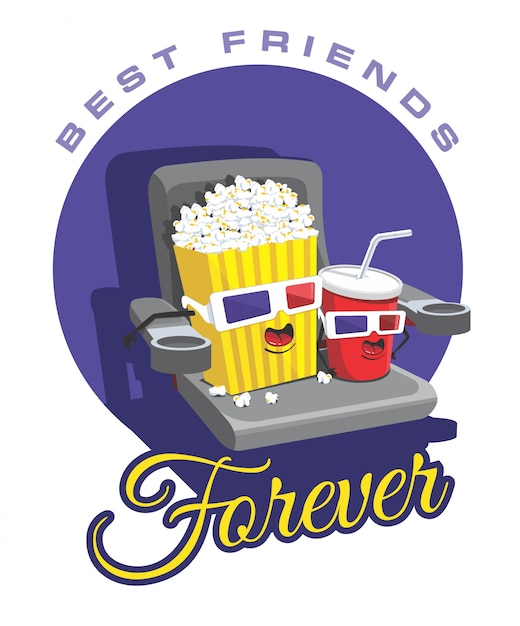 Popcorn et soda Vecteur Premium