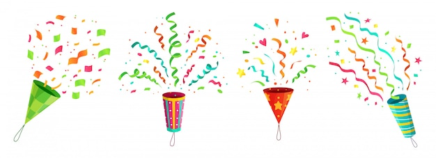 Popper De Confettis De Fête. Explosion De Fête D'anniversaire Confettis Poppers Et Rubans De Félicitations Volantes Vecteur Premium