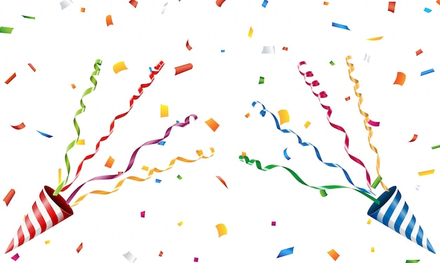 Popper Parti Explosif Avec Confettis Et Streamer Vecteur Premium