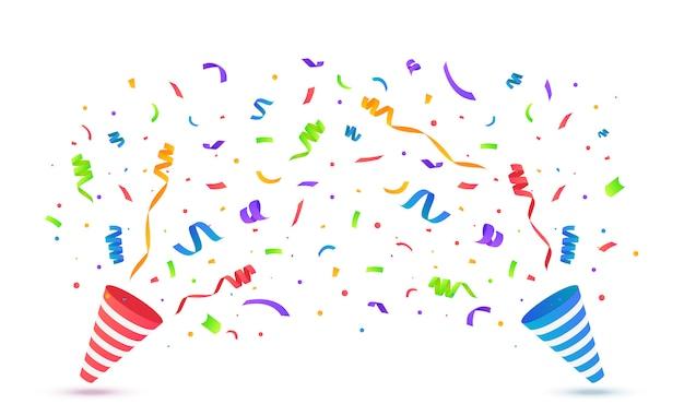 Popper Party Avec Des Confettis Isolés Vecteur Premium