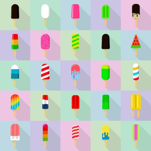 Popsicle icônes définies, style plat Vecteur Premium