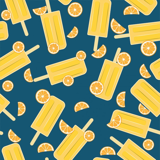 Popsicle orange seamless pattern pour l'été Vecteur Premium