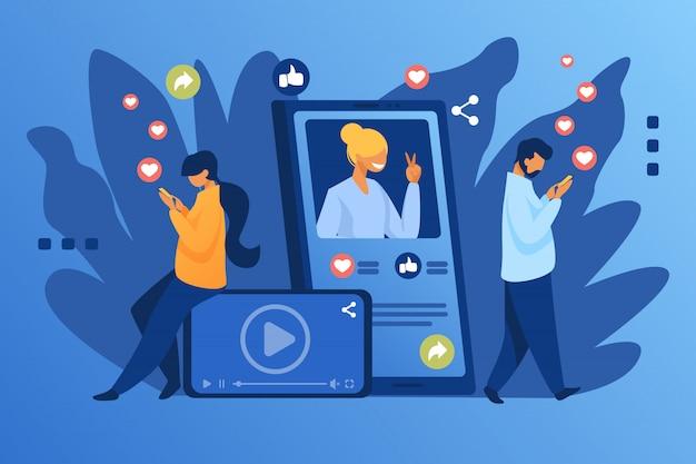 Popularité Des Médias Sociaux Vecteur gratuit