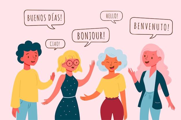 Population Parlant Dans Différentes Langues Vecteur gratuit
