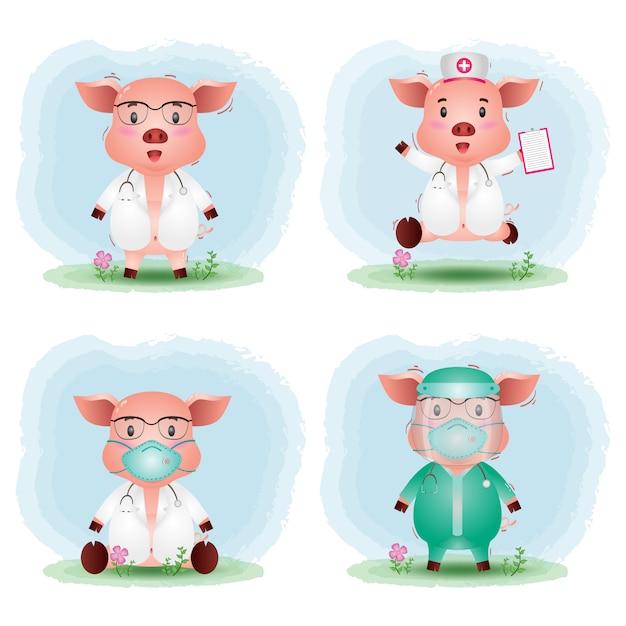 Porcs Mignons Avec Collection De Costumes De Médecin Et D'infirmière De L'équipe Médicale Vecteur Premium