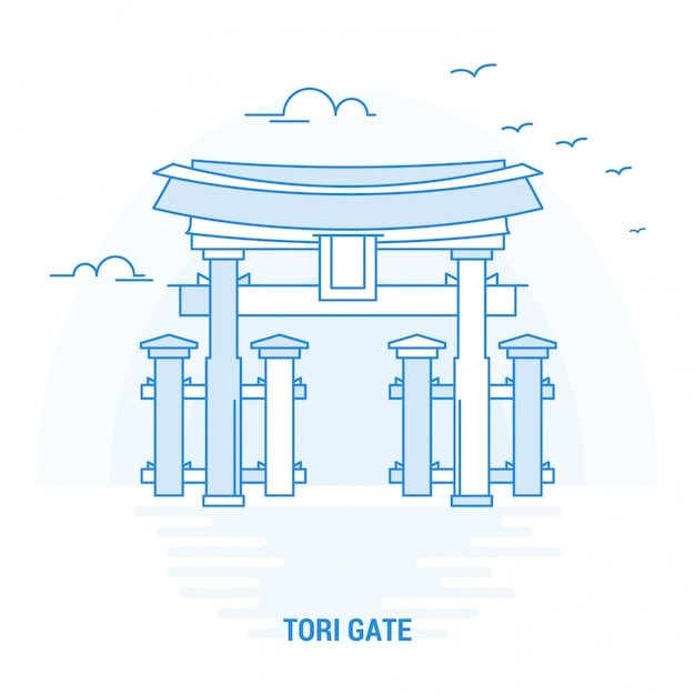 Porte bleue de tori Vecteur Premium
