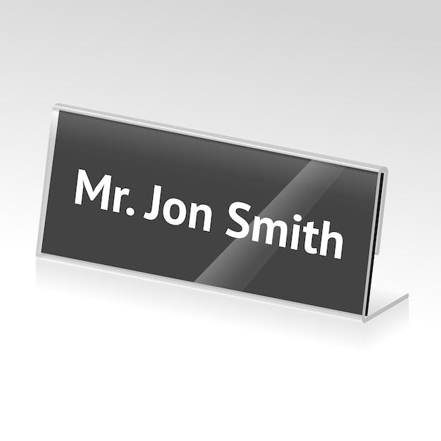 Porte-cartes En Acrylique De Vecteur Pour événements Avec Nom Vecteur Premium