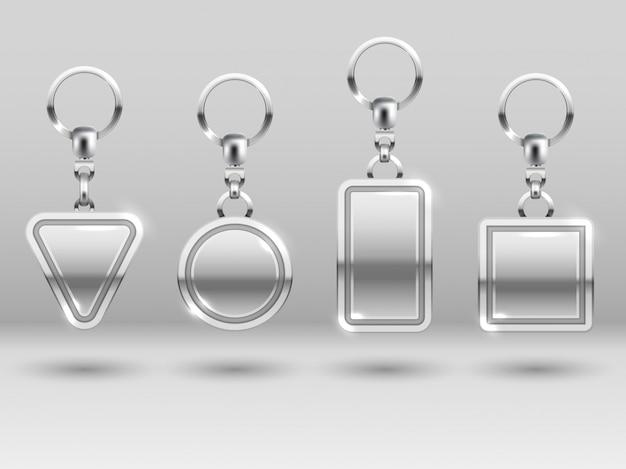 Porte-clés en argent sous différentes formes pour les modèles de porte de maison Vecteur Premium