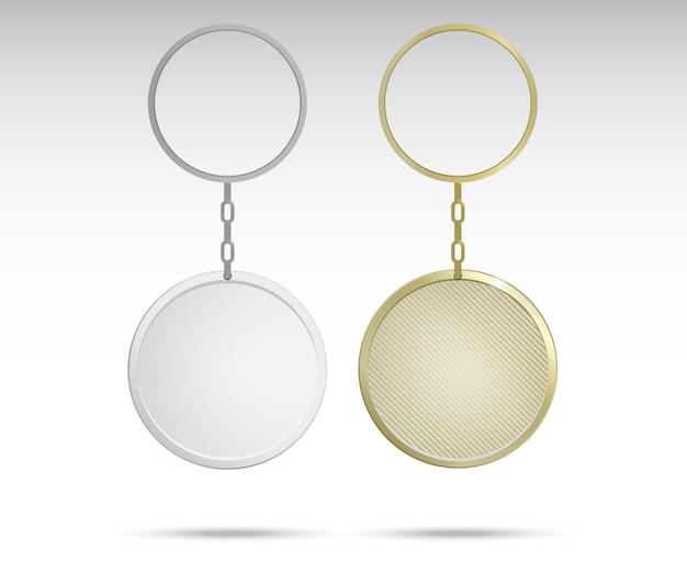 Porte-clés en métal et en plastique réalistes Vecteur Premium