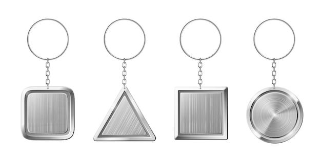 Porte-clés avec pendentif en argent. porte-clé vide avec anneau pour clés Vecteur Premium
