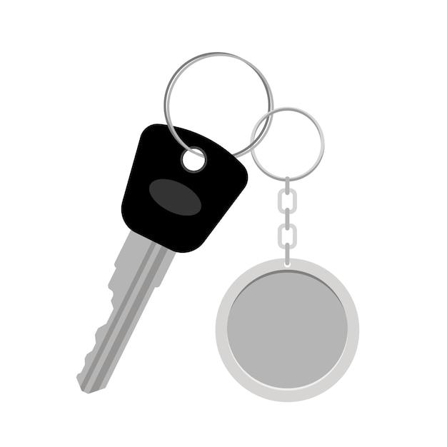 Porte-clés ou porte-clés en métal blanc Vecteur Premium