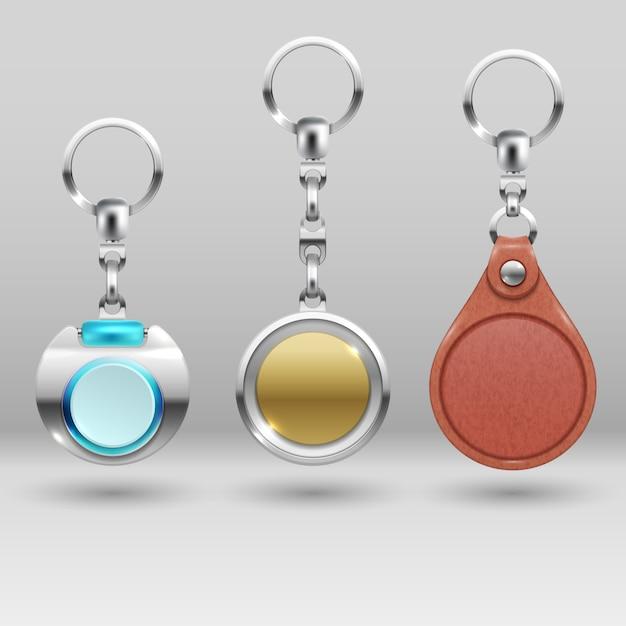 Porte-clés réalistes. porte-clés de voiture ensemble. collection de bibelots Vecteur Premium