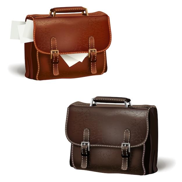 Porte-documents en cuir noir et marron Vecteur gratuit