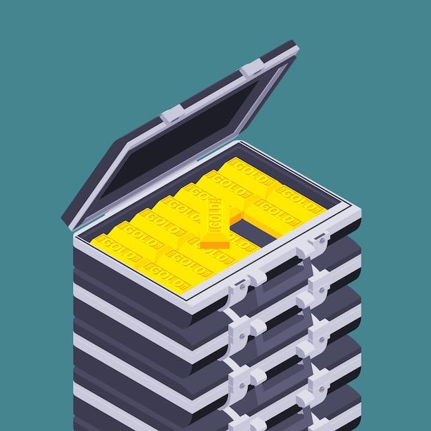 Porte-documents Isométrique Ouvert Avec Barres Dorées Vecteur Premium