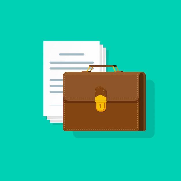 Porte-documents près de nombreux documents papier vector illustration style cartoon plat Vecteur Premium