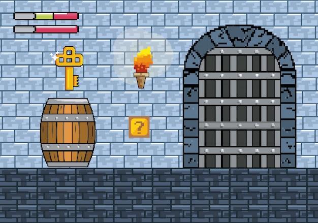 Porte du château avec clé dans le baril et barres de vie Vecteur gratuit