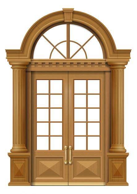 Porte d'entrée en chêne classique Vecteur Premium