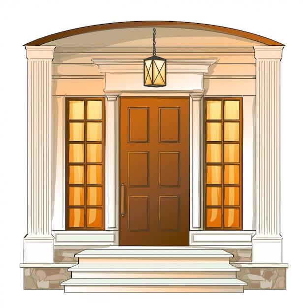 Porte d'entrée de vecteur de la maison de luxe traditionnelle. Vecteur Premium