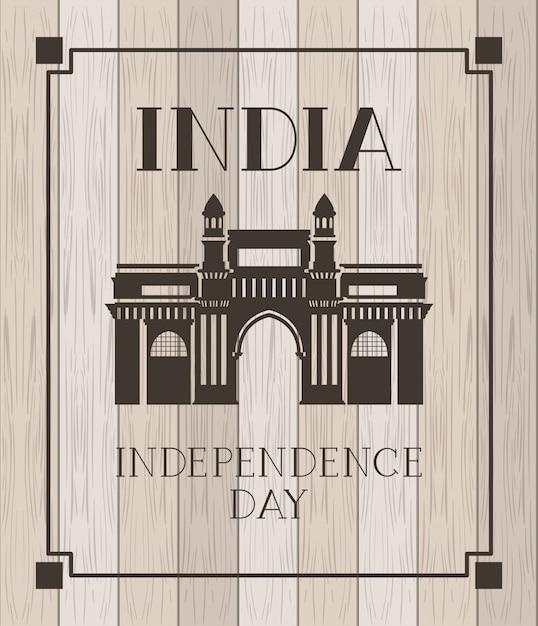 Porte indienne temple en bois Vecteur gratuit