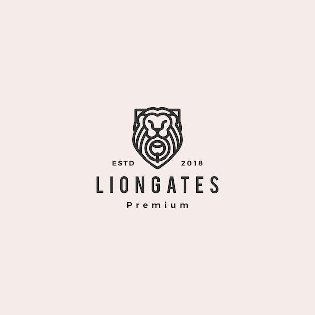 Porte lion porte lion Vecteur Premium