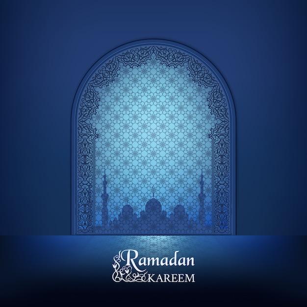 Porte De La Mosquée Islamique, Silhouette D'une Mosquée Avec Réflexion. Contour Ornemental Arabe Décor Bleu Foncé. Vecteur Premium