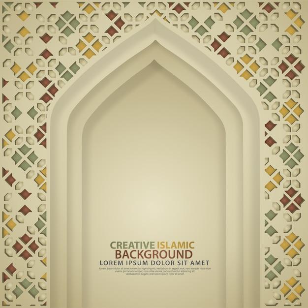 Porte De Mosquée Réaliste, Fond De Luxe Islamique Créatif. Vecteur Premium