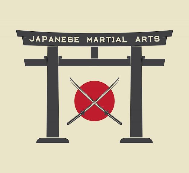 Porte torii japonaise Vecteur Premium