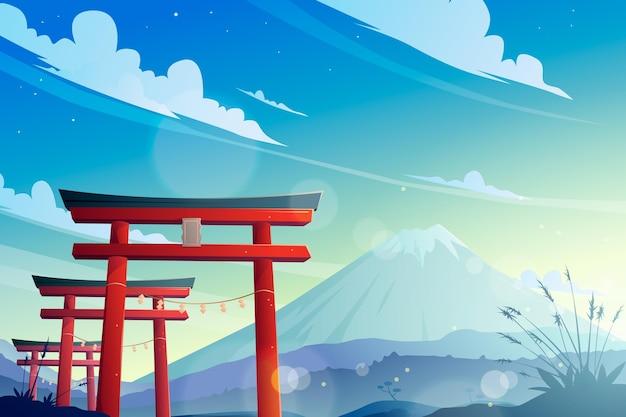 Porte Torii Et Mont Fuji Vecteur gratuit