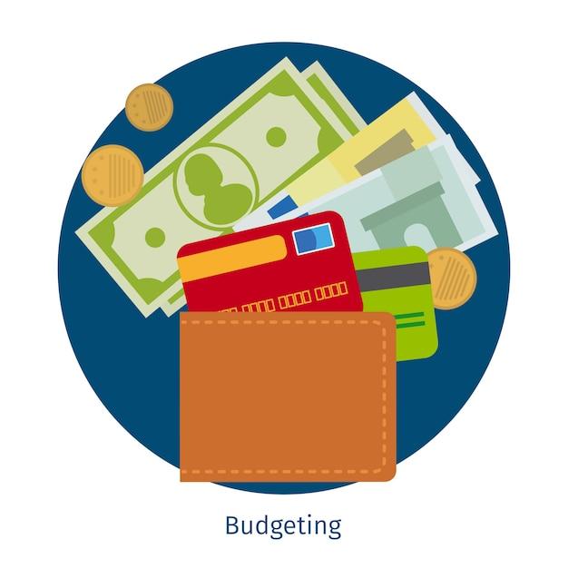 Portefeuille avec de l'argent et des cartes de crédit Vecteur Premium