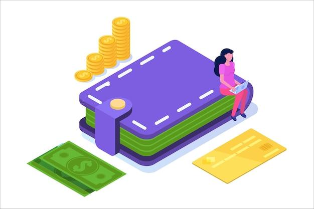 Portefeuille Avec Cartes De Crédit, Pièces De Monnaie, Icône De Trésorerie. Illustration Isométrique. Vecteur Premium