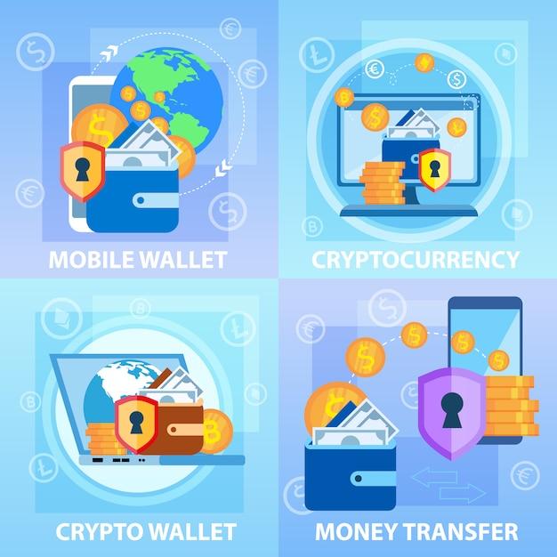Portefeuille crypto mobile. transfert d'argent de cryptomonnaie Vecteur Premium