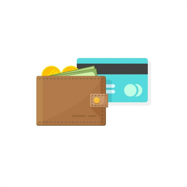 Portefeuille en cuir avec pièces de monnaie argent, papier et crédit ou débit carte vector illustration design plat de bande dessinée Vecteur Premium