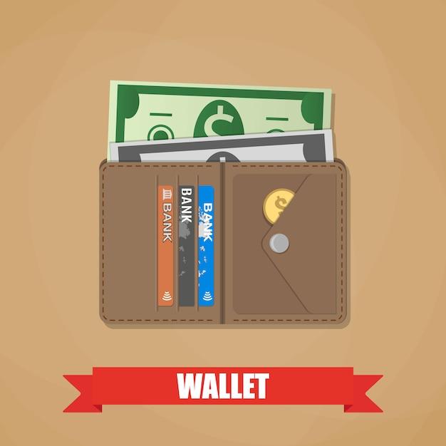 Portefeuille Ouvert Avec De L'argent Vecteur Premium