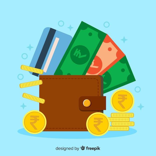 Portefeuille roupie indienne Vecteur gratuit