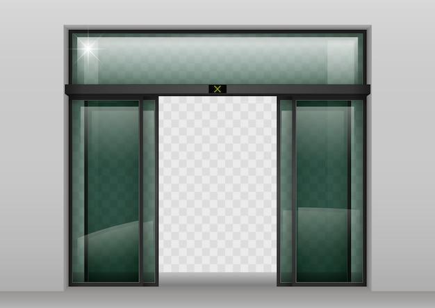 Portes automatiques en verre coulissant Vecteur Premium