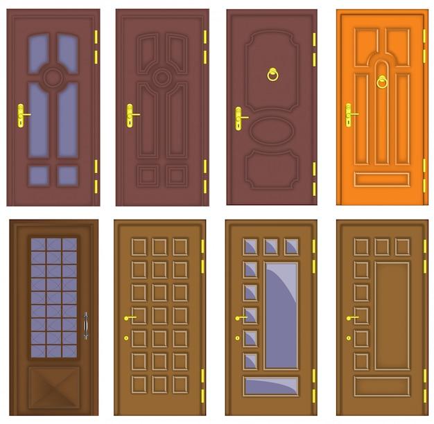 Portes en bois intérieures et avant classiques - vecteur Vecteur Premium