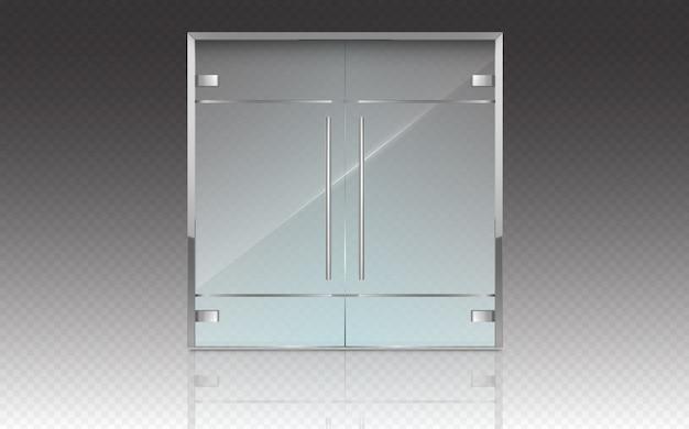 Portes Doubles En Verre Avec Cadre Et Poignées En Métal Vecteur gratuit