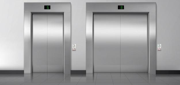 Portes De Levage, Ascenseurs De Service Et De Chargement Fermés. Vecteur gratuit