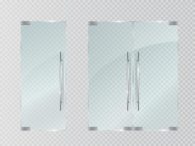 Portes En Verre Transparent Vecteur Premium