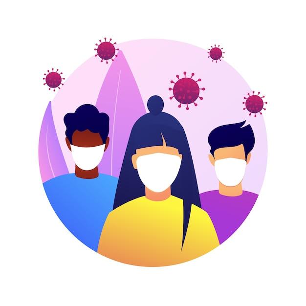 Portez Une Illustration De Concept Abstrait De Masque. Mesures De Prévention De La Propagation Du Virus, Distance Sociale, Risque D'exposition, Symptômes De Coronavirus, Protection Individuelle, Peur Des Infections. Vecteur gratuit