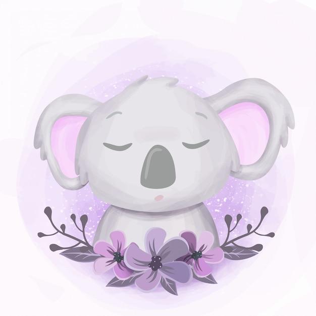 Portrait de bébé somnolent koala sleepy Vecteur Premium