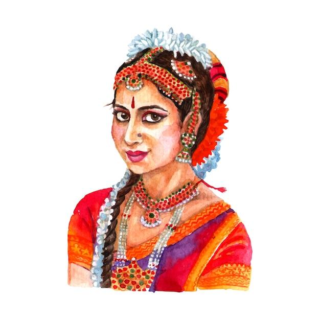 Portrait de belle dame indienne dans les vêtements traditionnels pour femmes et arrangement de cheveux Vecteur gratuit
