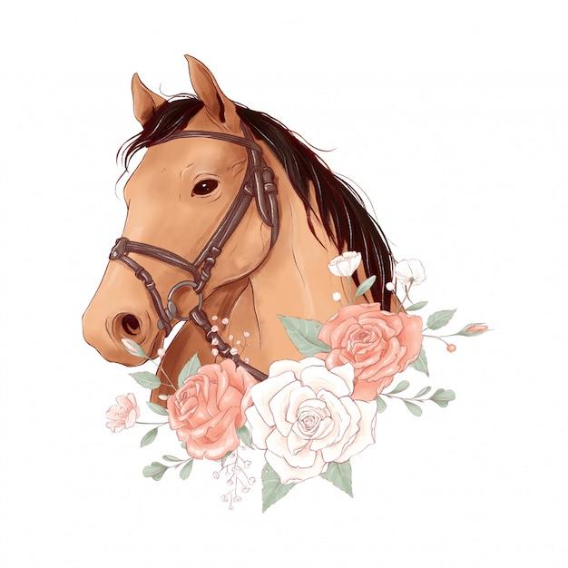 Portrait De Cheval Dans Un Style Aquarelle Numérique Et Un Bouquet De Roses Vecteur Premium