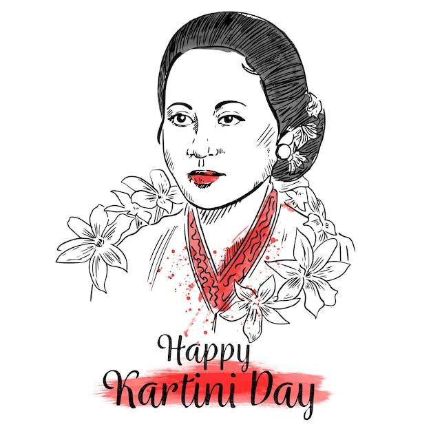 Portrait Du Héros De La Journée Kartini Vecteur gratuit