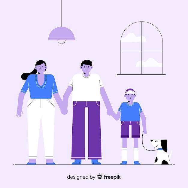 Portrait de famille dessiné à la main tenant par la main Vecteur gratuit