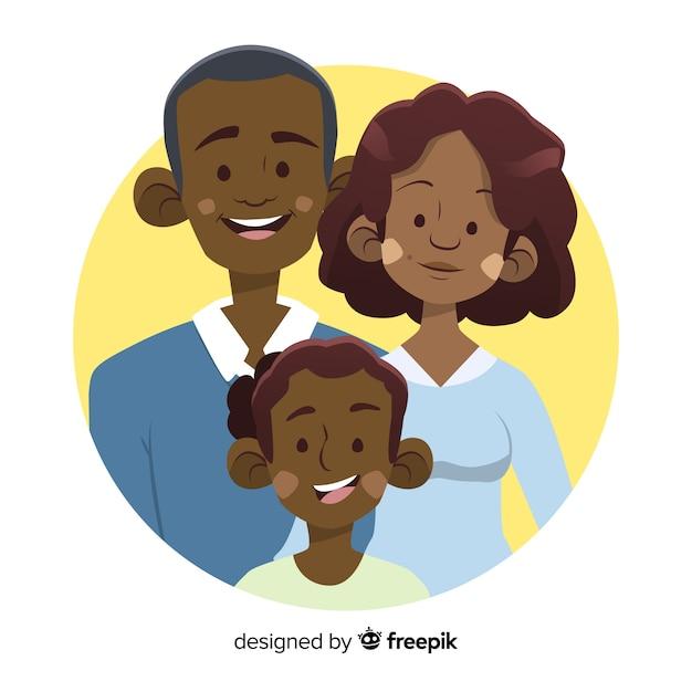 Portrait de famille dessiné à la main Vecteur gratuit